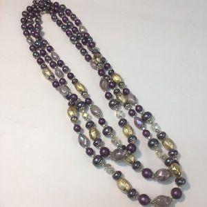 Vintage purple gold & crystal bead necklace